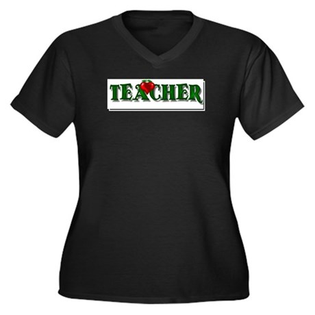 Teacher Apple Women's Plus Size V-Neck Dark T-Shir