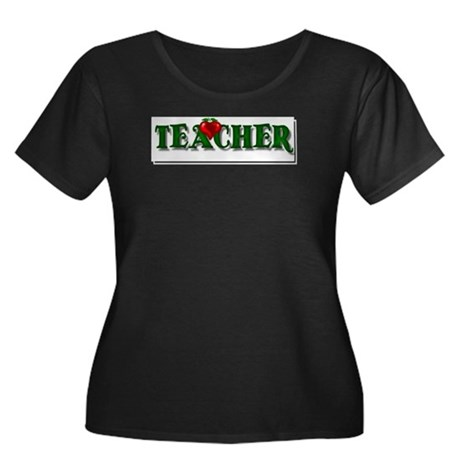 Teacher Apple Women's Plus Size Scoop Neck Dark T-