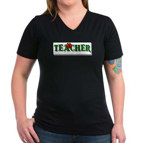 Teacher Apple Women's V-Neck Dark T-Shirt