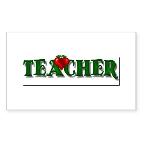 Teacher Apple Rectangle Sticker