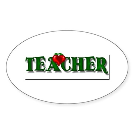 Teacher Apple Oval Sticker
