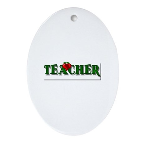 Teacher Apple Oval Ornament