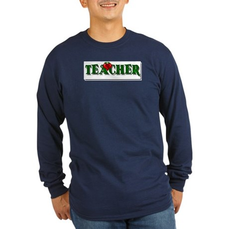 Teacher Apple Long Sleeve Dark T-Shirt