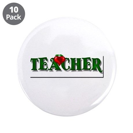 "Teacher Apple 3.5"" Button (10 pack)"