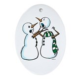 Snowman Fight Oval Ornament