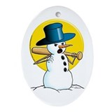 Evil Snowman Oval Ornament