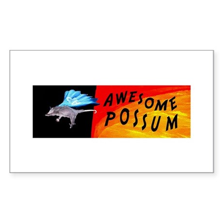 Flying Awesome Possum Rectangle Sticker