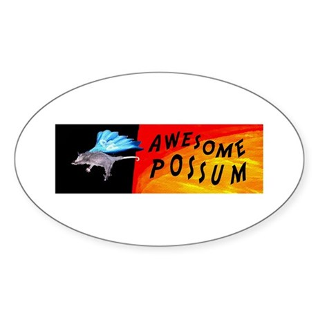 Flying Awesome Possum Oval Sticker