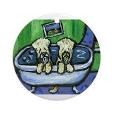 Wheatens in tub Design Keepsake (Round)