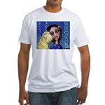Cool Lady Blue w Wheaten Fitted T-Shirt
