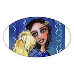Cool Lady Blue w Wheaten Oval Sticker