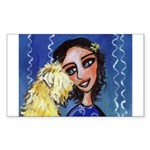 Cool Lady Blue w Wheaten Rectangle Sticker