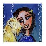 Cool Lady Blue w Wheaten Tile Coaster