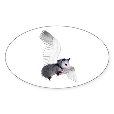 Angel Possum Oval Sticker