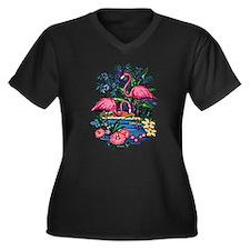 Flamingo 1A - Women's Plus Size V-Neck Dark T-Shir