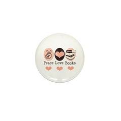 Peace Love Books Book Lover Mini Button (10 pack)