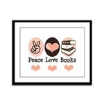 Peace Love Books Book Lover Framed Panel Print