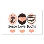 Peace Love Books Book Lover Rectangle Sticker