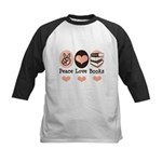 Peace Love Books Book Lover Kids Baseball Jersey