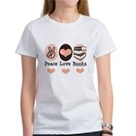 Peace Love Books Book Lover Women's T-Shirt