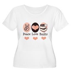 Peace Love Books Book Lover Women's Plus Size Scoo