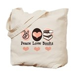 Peace Love Books Book Lover Tote Bag