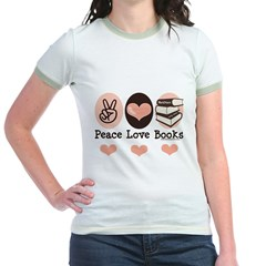 Peace Love Books Book Lover Jr. Ringer T-Shirt