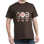 Peace Love Books Book Lover Dark T-Shirt