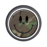 Camo Smiley Face Wall Clock