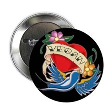 "vegan tattoo 2.25"" Button (10 pack)"