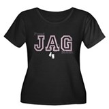jag mom Women's Plus Size Scoop Neck Dark T-Shirt