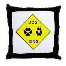 Dog Crossing Throw Pillow