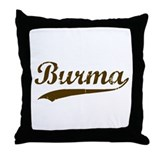 Vintage Burma Retro Burmese Throw Pillow