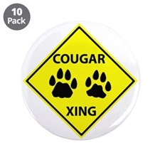 "Cougar Mountain Lion Crossing 3.5"" Button (10 pack"
