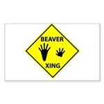 Beaver Crossing Rectangle Sticker