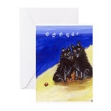 SCHIPPERKE beach Design Greeting Cards (Package of