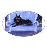 SCHIPPERKE blue sofa Design Oval Decal