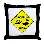 Opossum Crossing Throw Pillow