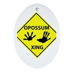 Opossum Crossing Ornament (Oval)