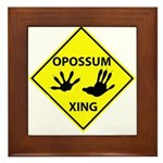 Opossum Crossing Framed Tile