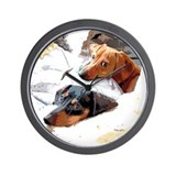 Naptime Doxies Wall Clock