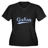 Vintage Gabon Retro Women's Plus Size V-Neck Dark