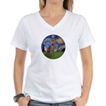 Starry / Weimaraner Women's V-Neck T-Shirt