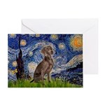 Starry / Weimaraner Greeting Card