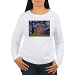 Starry / 2 Weimaraners Women's Long Sleeve T-Shirt