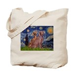 Starry / 2 Weimaraners Tote Bag