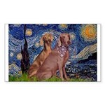 Starry / 2 Weimaraners Sticker (Rectangle)