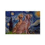 Starry / 2 Weimaraners Rectangle Magnet