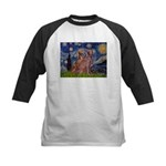 Starry / 2 Weimaraners Kids Baseball Jersey