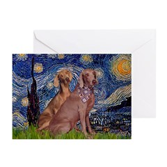 Starry / 2 Weimaraners Greeting Cards (Pk of 20)